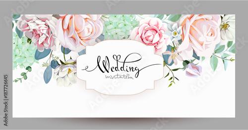 Pinturas sobre lienzo  Wedding invitation with roses 3