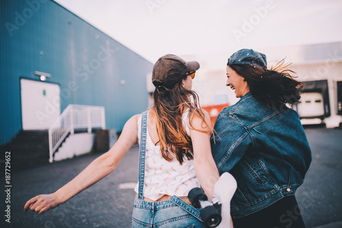 Young hipster friends having fun together