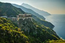 The Monastery Of Simonopetra In Mount Athos Monastic Republic, Greece