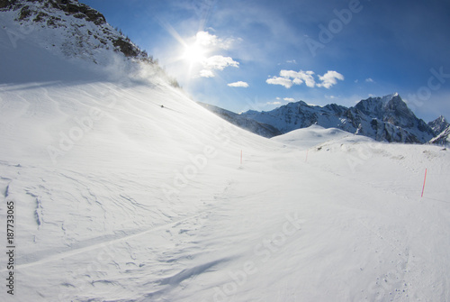 Foto op Plexiglas Alpinisme San Domenico, Varzo, Alps, Italy, panorama of the snow-capped mountains at dawn