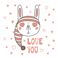 Fototapeta Napisy Hand drawn vector portrait of a cute funny bunny with heart shaped eyes, romantic quote. Isolated objects on white background. Vector illustration. Design concept for children, Valentines day card.
