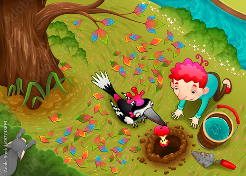 Poster Chambre d enfant Woodpecker and the boy are seeding an apple seed