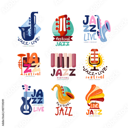 Photo  Logos set for jazz festival or live concert