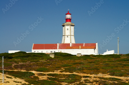 Foto op Aluminium Vuurtoren Lighthouse buildings at Cape Espichel