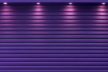 The Purple Shutter Door With The Light From Spotlight Background.