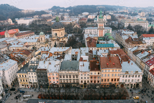 Staande foto Praag Beautiful view from the roof to the center of Lviv in the winter