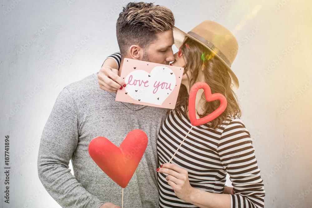 Photo Art Print Liebe Paar Gemeinsam Feiert Valentinstag Europosters