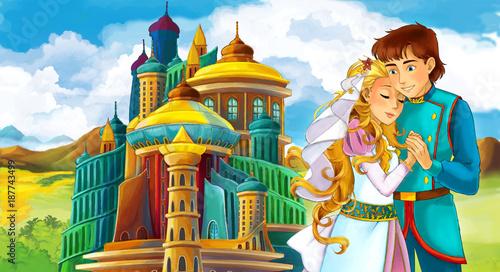 Plakaty do pokoju dziecka cartoon-scene-with-young-married-couple-near-beautiful-castle-illustration-for-children