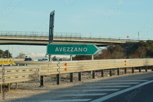 Highway green sign to Avezzano Canvas Print