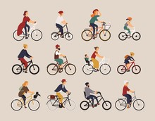 Collection Of People Riding Bi...