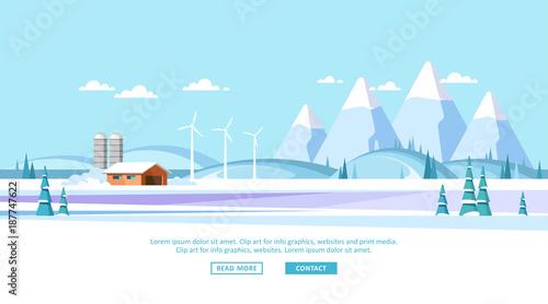 Foto op Canvas Lichtblauw Winter rural landscape background. Vector illustration.