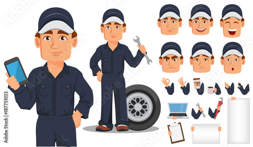 Professional auto mechanic cartoon character creation set.