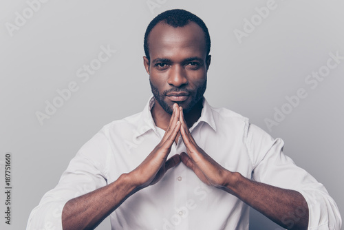 Fotografie, Obraz  Keep calm and peace be yourself! Portrait of confident serious thoughtful pensiv