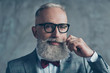 canvas print picture - Close up portrait of grinning old-fashioned trendy elegant wealthy professional flirty trendsetter hipster grandpa sharp dressed with maroon bow-tie twisting white mustache isolated on grey background