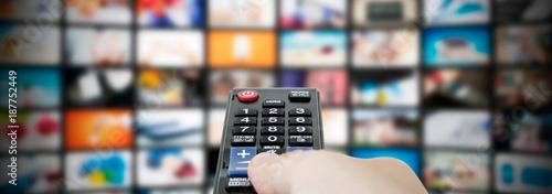 Obraz Multimedia video streaming web banner background - fototapety do salonu