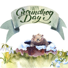 Happy Groundhog Day - Hand Han...