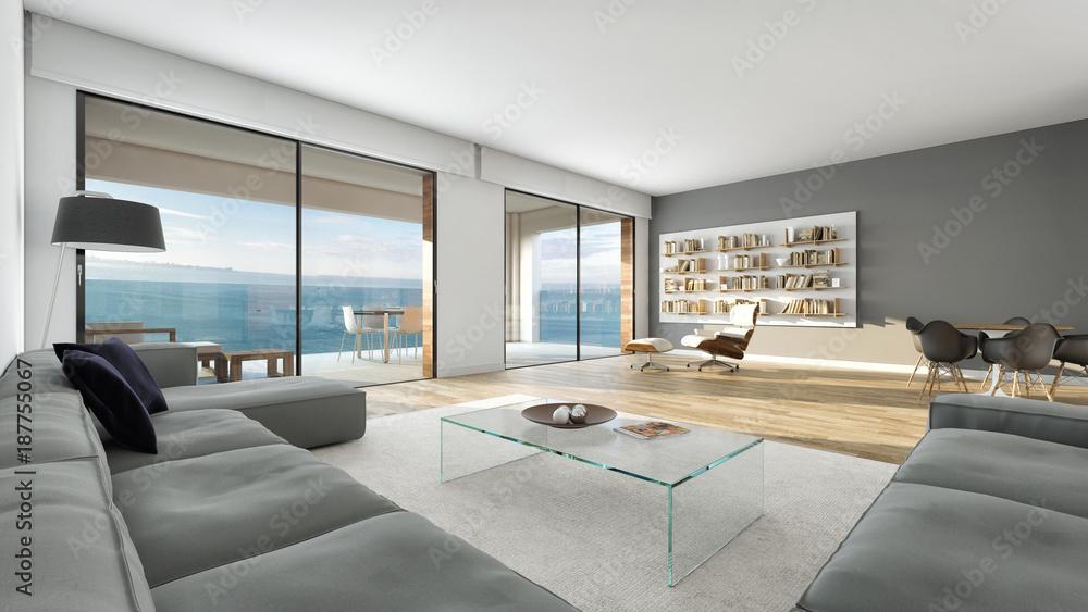 Fototapeta Salón moderno interior decoración con vista al mar