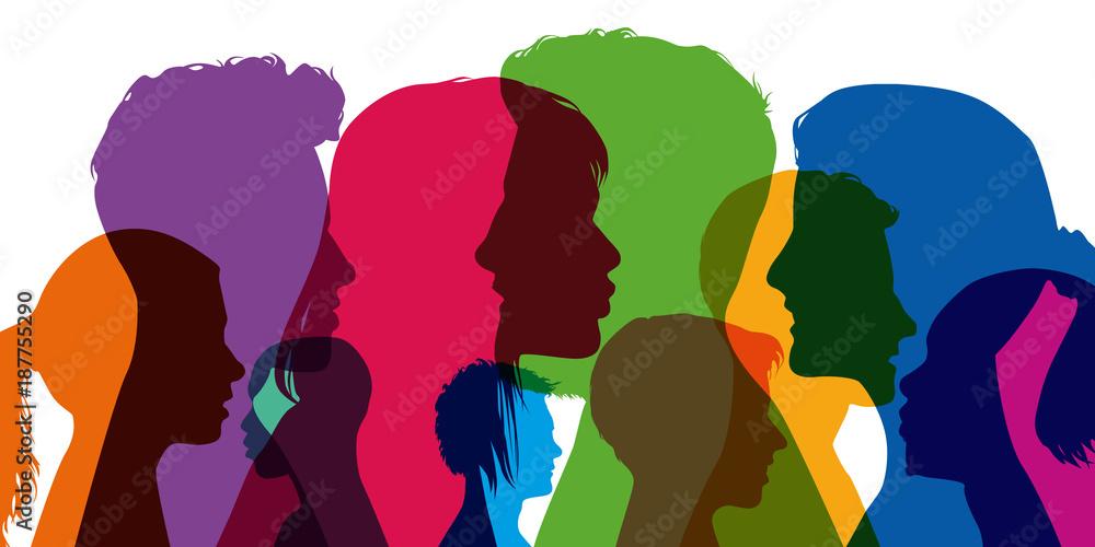 Fototapeta profil - jeune - étudiant - portrait - silhouette - visage - tête - adolescent - fille - garçon - groupe