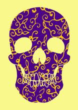 Purple Floral Skull Vector Art On Beige Background