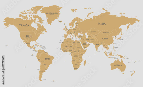 Political World Map vector illustration with country names in ...