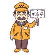 Angry taxi driver. Isolated objects on white background. Cartoon vector illustration.