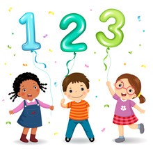 Cartoon Kids Holding Number 12...