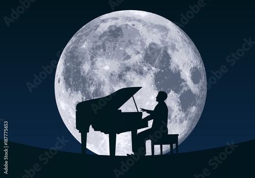 Fotografie, Obraz  pianiste - piano - musique - lune - clair de lune - musique classique - artiste