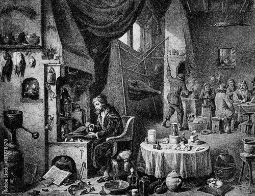 Vászonkép An alchemist in his laboratory by David Teniers the Younger (from Spamers Illust