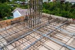 Construction rebar steel work reinforcement in conncrete structure of building post tension slab system