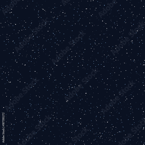 Foto op Aluminium Kunstmatig Starry sky seamless pattern, white and blue dots in galaxy and stars style - repeatable background. Galaxy background of starry night sky, space repeat seamless