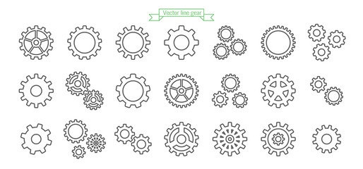 Gear icon line, thin, vector, set, icons, design