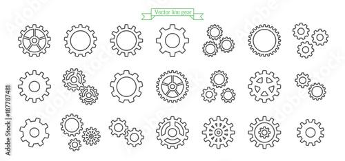 Fotografía  Gear icon line, thin, vector, set, icons, design