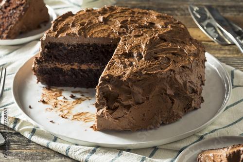 Sweet Homemade Dark Chocolate Layer Cake - Buy this stock photo and