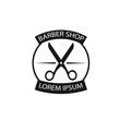 Barber shop vintage logo, label, badge or emblem design. Isolated on white background