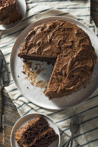 Sweet Homemade Dark Chocolate Layer Cake Canvas Print