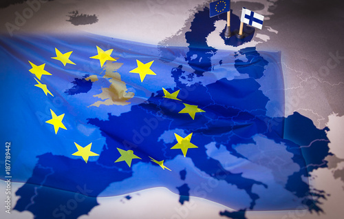 Obraz EU and Finland flags over an european union Map - fototapety do salonu