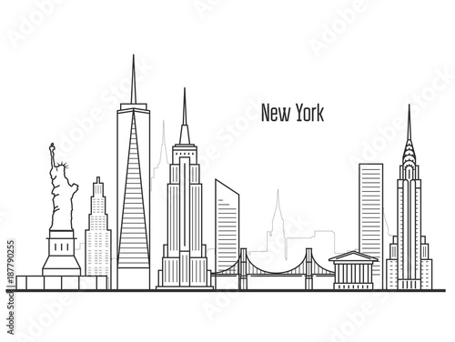 Fotografía  New York city skyline - Manhatten cityscape, towers and landmarks in liner style