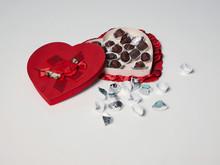 Open Heart Shape Box Of Chocolates, White Background