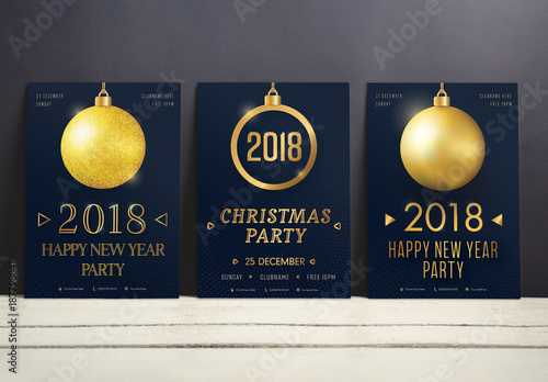 Christmas And New Year Party Flyer Set With Gold Ornament Element 1