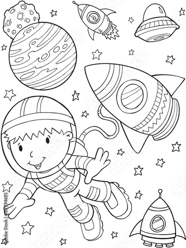 Spoed Foto op Canvas Cartoon draw Astronaut Outer Space Vector Illustration Art