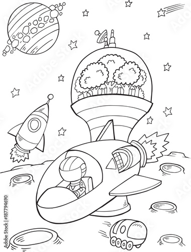 Tuinposter Cartoon draw Outer Space Spaceship Vector Illustration Art