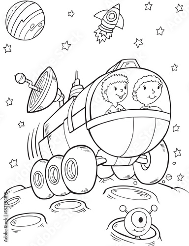 Poster Cartoon draw Outer Space Buggy Rover Vector Illustration Art