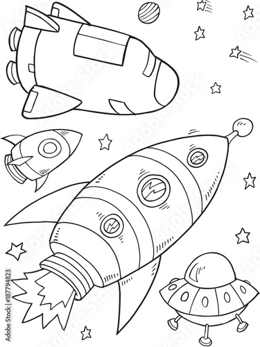 Staande foto Cartoon draw Rocket Outer Space Vector Illustration Art