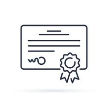 Vector Certificate Icon. Achievement Or Award Grant, Diploma Concepts. Premium Quality Graphic Design Elements.