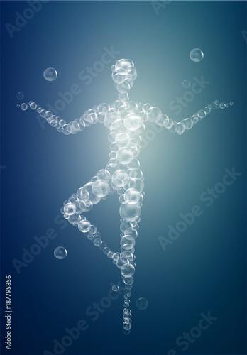 Fotografie, Obraz weightless feeling, light feeling with yoga, woman silhouette in tree position b