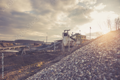 Sand mining with sand replenishment system, sorting sand, heavy industrial conce Canvas Print