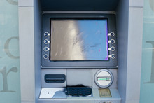 Vandalized And Spray Painted ATM Machine