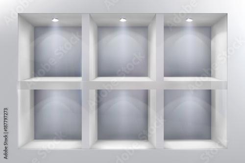 The shelves in shop window. Vector illustration. Fototapeta