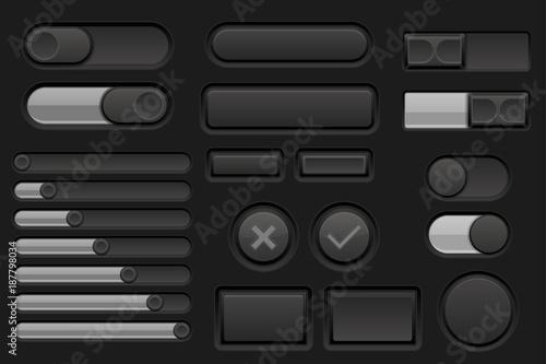 Fotografía  Black interface buttons set