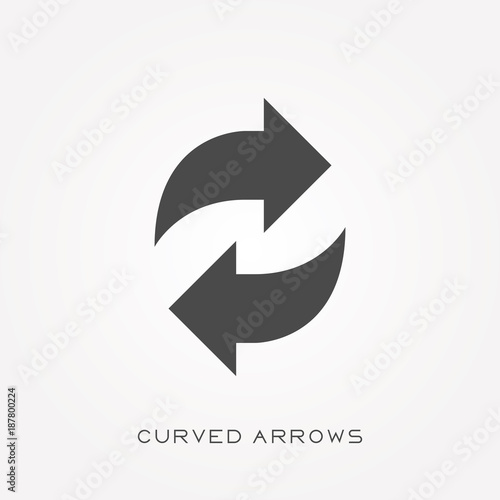 Fotografering  Silhouette icon curved arrows